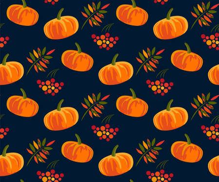 Vector autumn leaves and pumpkin, halloween pattern. Floral stock vector illustration