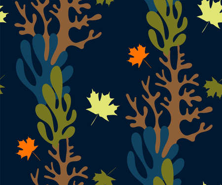 Vector autumn leaves, halloween pattern. Floral stock vector illustration