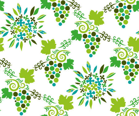 Vector ornamental vine grapes decorative background. Ethnic seamless pattern ornament. Vector pattern
