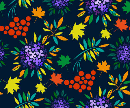 Vector autumn leaves and rowan seamless pattern. Floral stock vector illustration