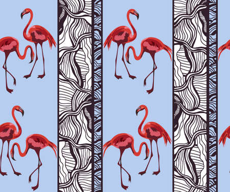 Tropical wildlife, flamingo bird, seamless pattern. Print for textile, cloth, wallpaper, scrapbooking