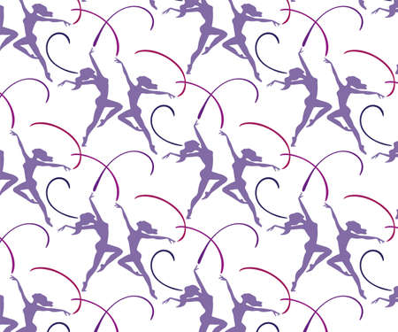 Ballet dancers seamless pattern. Vector background with ballerinas. Print for textile, cloth, wallpaper, scrapbooking Archivio Fotografico - 140407787