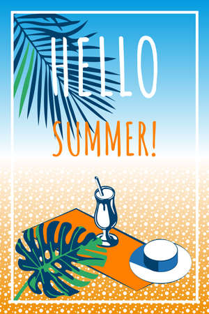 Summer holiday bbeach towel, cocktail, beach hat, palm leaves. Vector illustration Illustration