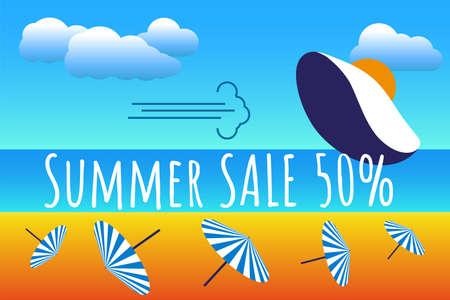 Beautiful hat, at the beach, retro style.  Summer sale, holiday concept. Pop art. Summer holiday. Vector illustration Ilustração