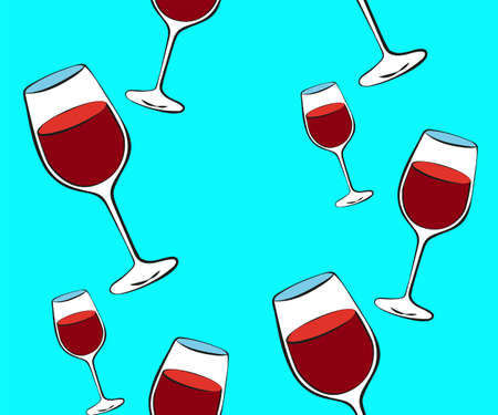 Vector seamless pattern with cartoon wineglass. Bright juice berries. Illustration used for magazine, book, poster, card, menu cover, web pages. Ilustração