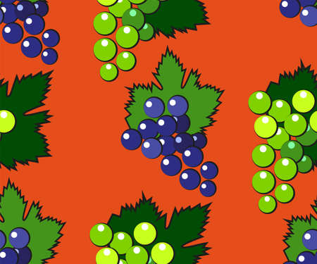 Vector seamless pattern with cartoon grapes isolated. Bright juice berries. Illustration used for magazine, book, poster, card, menu cover, web pages. Ilustração