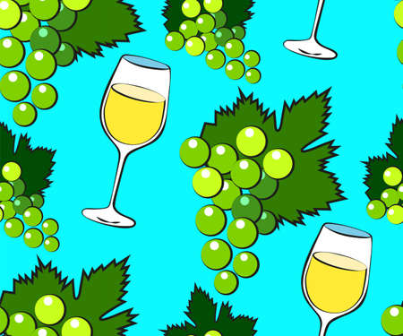 Vector seamless pattern with cartoon grapes and wineglass. Bright juice berries. Illustration used for magazine, book, poster, card, menu cover, web pages.