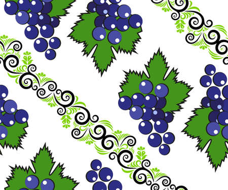 Vector seamless pattern with cartoon grapes isolated. Bright juice berries. Illustration used for magazine, book, poster, card, menu cover, web pages.