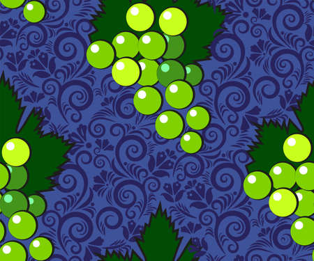 Vector seamless pattern with cartoon grapes isolated and ethnic ornament. Bright juice berries. Illustration used for magazine, book, poster, card, menu cover, web pages.