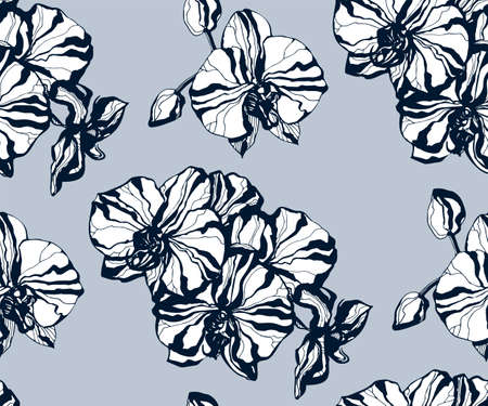 Seamless floral pattern with orchids and ornamental hand drawing decorative background. Ethnic seamless pattern ornament. Vector pattern. Print for textile, cloth, wallpaper, scrapbooking