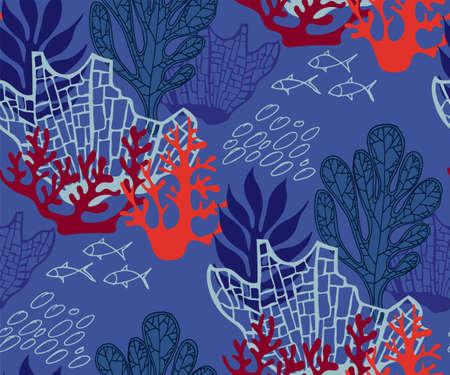 Hand drawn underwater natural ocean elements. Seamlesspattern with reef corals. Vector sketch.
