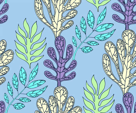 abstract flowers seamless pattern. Hand drawn ink illustration. Wallpaper or fabric design. Vector pattern.