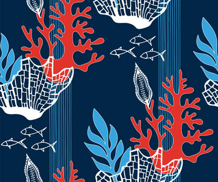 Hand drawn underwater natural ocean elements. Seamless pattern with reef corals. Vector sketch