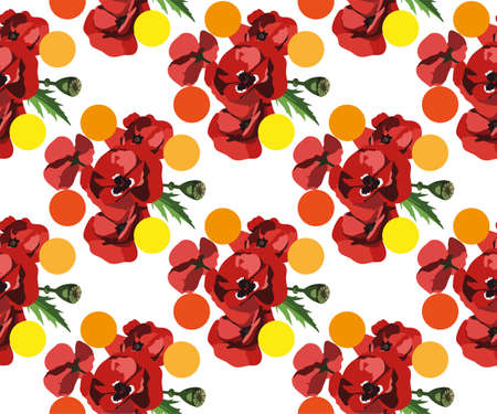 Vector seamless pattern with wild red poppies 免版税图像 - 140447018