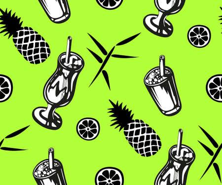 Cocktail drinks seamless vector illustration.