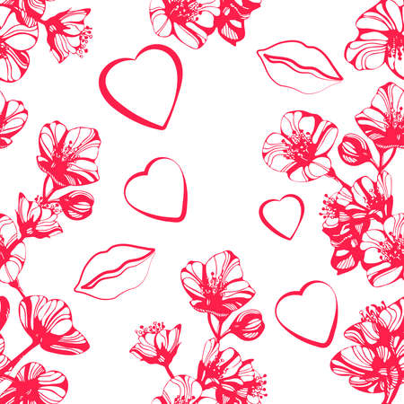 Vector Awesome jasmine flowers, lips and heart. Hand drawn ink illustration. Wallpaper or fabric design.