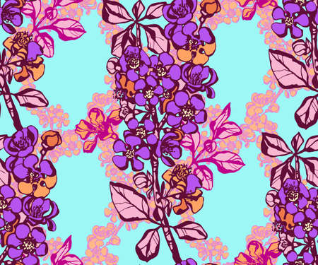 Seamless floral pattern with Japanese quince flowers and ornamental decorative background. Vector pattern. Print for textile, cloth, wallpaper, scrapbooking