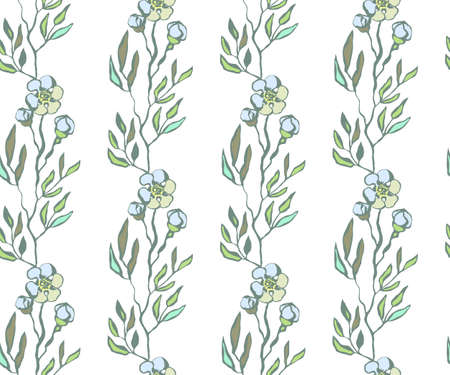 Seamless floral pattern with  sakura flowers and ornamental decorative background. Vector pattern. Print for textile, cloth, wallpaper, scrapbooking Ilustracja