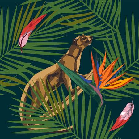 Tropical wildlife seamless pattern. Madagascar animals, flowers ornament. Vector pattern.