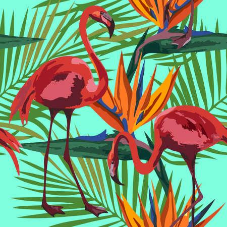 Vector flamingo pattern. Ethnic seamless pattern ornament. Vector pattern.