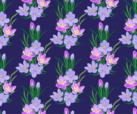 Vector seamless pattern with wild crocus flower Ilustracje wektorowe