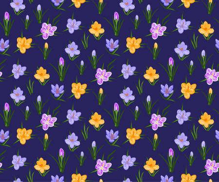 Vector seamless pattern with wild crocus flower