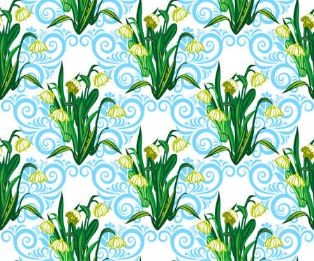 Vector seamless pattern with wild spring flower