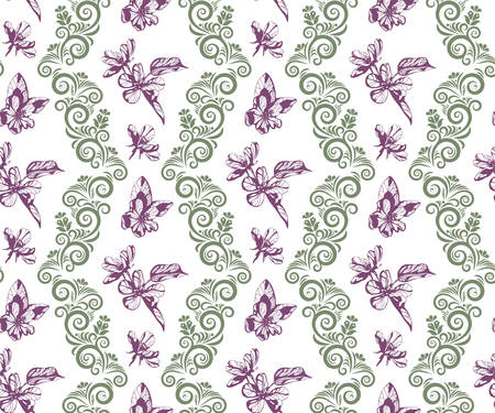 flowers seamless patern. Hand drawn ink illustration. Wallpaper or fabric design. Vector pattern.