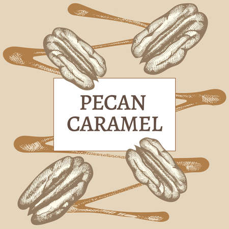 Pecan nuts and caramel. Hand drawn Vector illustration