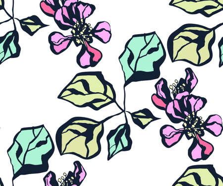 Seamless floral pattern with Japanese quince flowers and ornamental decorative background.