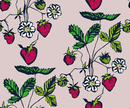 Seamless floral pattern with strawberry ornamental decorative background. Ilustração