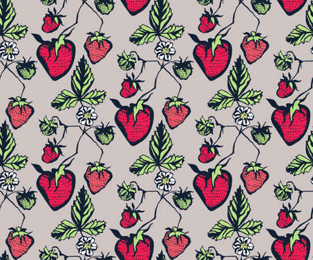Seamless floral pattern with strawberry ornamental decorative background. Imagens - 140968747