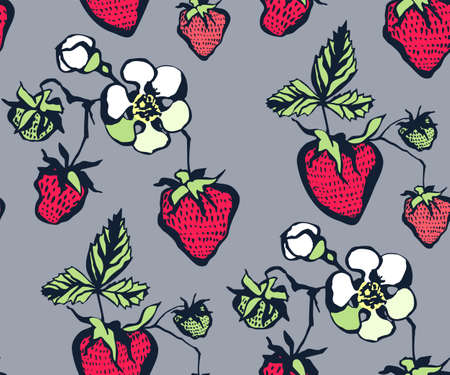 Seamless floral pattern with strawberry ornamental decorative background.