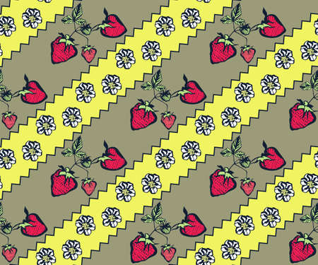 Seamless floral pattern with wild strawberry ornamental decorative background.
