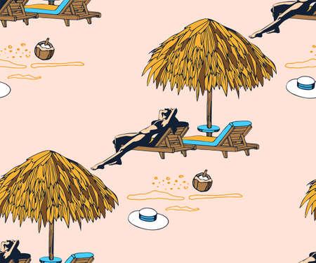 Seamless summer beach pattern. Hello Summer, holiday concept. Pop art. Summer holiday.