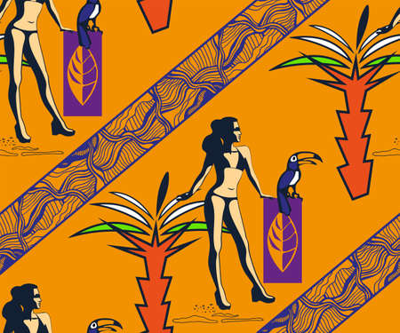 Beautiful woman tanning, with sunglasses, hat, at the beach, retro style. Pop art. Summer holiday. Vector seamless pattern illustration