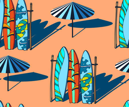Beach pattern with surfing board. Decorative background. Vector seamless pattern illustration. Print for textile, cloth, wallpaper, scrapbooking