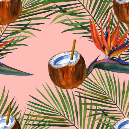 Beautiful hand drawn pattern with tropical palm, coconuts. Watercolor seamless pattern, summer background