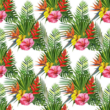 Watercolor seamless floral pattern with exotic flower hand drawing decorative background. Print for textile, cloth, wallpaper, scrapbooking