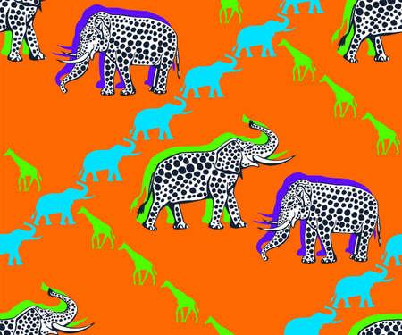 Vector background hand drawn doodle elephant. Hand drawn ink illustration. Modern ornamental decorative background. Vector pattern. Print for textile, cloth, wallpaper, scrapbooking Ilustracje wektorowe