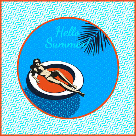 Beautiful woman tanning, with sunglasses, hat, at the beach, retro style. Pop art. Summer holiday. Modern ornamental decorative background. Square print for textile, cloth, scrapbooking