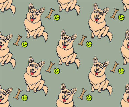 Vector background hand drawn corgi dog. Hand drawn ink illustration. Modern ornamental decorative background. Vector pattern. Print for textile, cloth, wallpaper, scrapbooking Stockfoto - 147784721