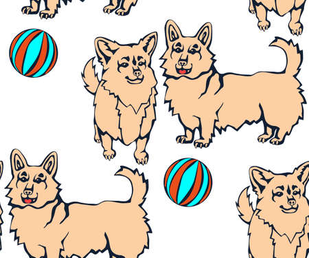 Vector background hand drawn corgi dog. Hand drawn ink illustration. Modern ornamental decorative background. Vector pattern. Print for textile, cloth, wallpaper, scrapbooking