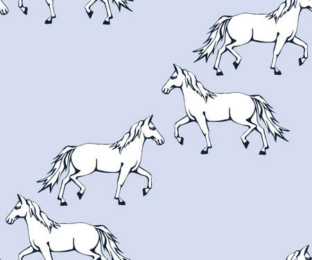 Vector background hand drawn horse. Hand drawn ink illustration. Modern ornamental decorative background. Vector pattern. Print for textile, cloth, wallpaper, scrapbooking Stock Illustratie