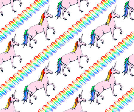 Vector background hand drawn unicorn. Hand drawn ink illustration. Modern ornamental decorative background. Vector pattern. Print for textile, cloth, wallpaper, scrapbooking