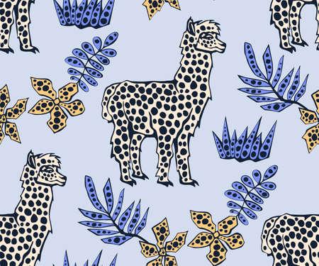 Vector background hand drawn exotic wild llama alpaca. Hand drawn ink illustration. Modern ornamental decorative background. Vector pattern. Print for textile, cloth, wallpaper, scrapbooking