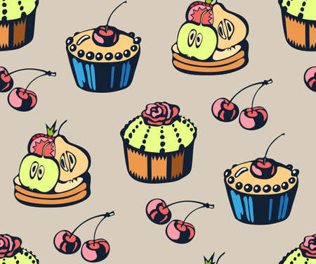 Vector background hand drawn sweets. Hand drawn ink illustration. Modern ornamental decorative background. Vector pattern. Print for textile, cloth, wallpaper, scrapbooking Illusztráció