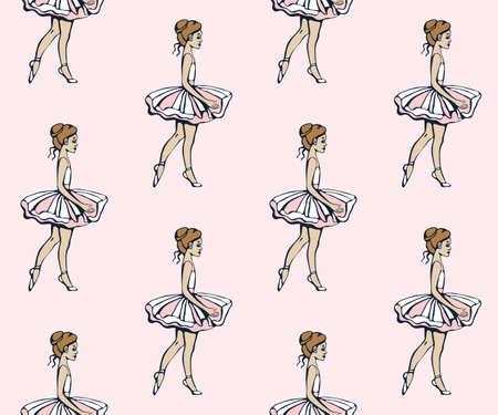 Vector background hand drawn ballerina. Hand drawn ink illustration. Modern ornamental decorative background. Vector pattern. Print for textile, cloth, wallpaper, scrapbooking