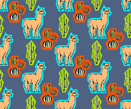 Vector background hand drawn exotic wild llama alpaca. Hand drawn ink illustration. Modern ornamental decorative background. Vector pattern. Print for textile, cloth, wallpaper, scrapbooking