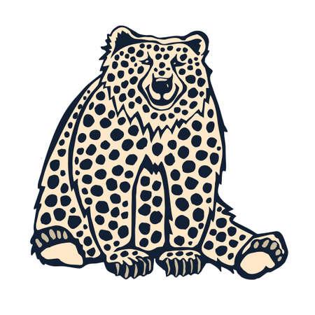 Vector background hand drawn bear. Hand drawn ink illustration. Modern ornamental decorative background. Print for textile, cloth, wallpaper, scrapbooking Stock Illustratie